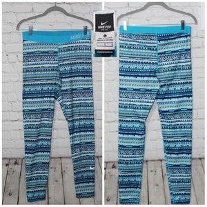 Nike pro Fleece leggings  size large aqua blue